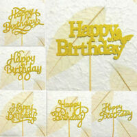 10Pcs Happy Birthday Cake Topper Gold Cupcake Toppers Birthday Party Decor JDFO