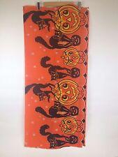 "Antique VTG Halloween Crepe Banner 20"" x 40"" Black Cats JOL Pumpkins Dennison"