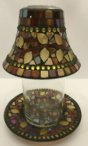 Vintage Yankee Candle Jewel Leaf Multicolor Mosaic Lamp Shade And Plate 2 Pieces