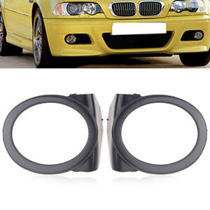 BLACK PLASTIC FOG LIGHT RING RINGS COVERS ABS FOR BMW E46 M3 BUMPERS SET PAIR