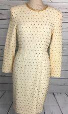 Carmen Marc Valvo Dress 8 Ivory Gold Bead Wool Vintage Sheath Long Sleeve Zipper