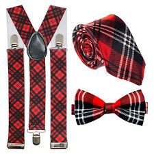Brucia notte Robert SCOZIA SCOTTISH tartan bretelle, cravatta & PAPILLON SET