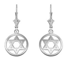 14k White Gold Encircled Star of David Drop / Dangle Leverback Earrings