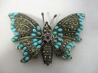 """925 STERLING MARCASITE TURQUOISE HINGED """"FLAPPING WINGS"""" BUTTERFLY BROOCH PIN"""