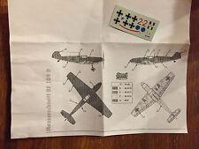 1/72 Sword Messerschmitt bf-109D Decal sheet