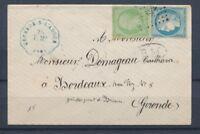 1871 Enveloppe Convoyeur station GRENADE-S-L'ADOUR T.Mx. bleue LANDES(39) P4432