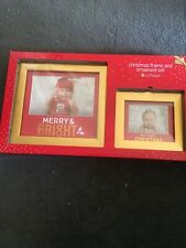 Baby's Christmas Frame & Ornament Gift Set Red Gold First Christmas Lil Peach
