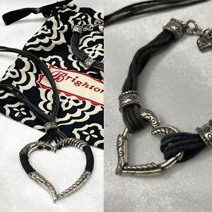 2PC Set BRIGHTON Silver Tone Leather HERITAGE HEART Necklace/Bracelet Retired!