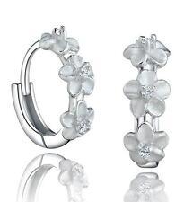 013 Creolen Damen Ohrringe Blume 925 Sterling Silber Pl 6 Zirkonia NEU