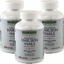 3 x Nature's Bounty Extra Strength Hair Skin Nails 250 SG Biotin,Hyaluronic Acid