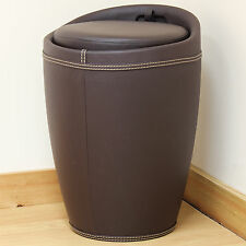 Brown Faux Leather Wizard Ottoman Hidden Storage Barrel Stool/Seat/Tub/Chair