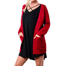 Damen Oversized Locker Strickshirt Sweater Jumper Cardigan Jacke Cape Pullover H