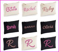 Personalised makeup bag pencil case pink rose gold GLITTER custom text initial
