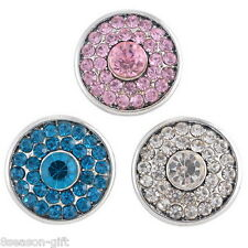 3PC Regular Mixed Snap Buttons Tibetan Silver Tone Crystal Round Jewelry DIY HX