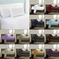 4pcs Solid Color Deep Pocket Bed Sheet Set Fitted Sheet Queen King 1800 Count