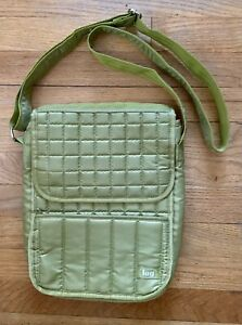 Lug Lime Green Quilted Flapover Crossbody Messenger Bag NEW