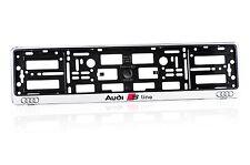 2 x AUDI S-line silver matt ABS Number Plate Surrounds Holder Frame+ Free Screws