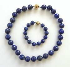 Vtg Lapis Lazuli Bead Necklace Bracelet Set Gold Vermeil Clasp Big Beads