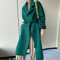 Women's Winter Double-side Cashmere Overcoat Belt 100% Wool Trench Coat