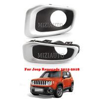 Chrome Grill Bezel For Jeep Renegade 2015-17 2018 Front Fog Light Bumper Lamp 2X