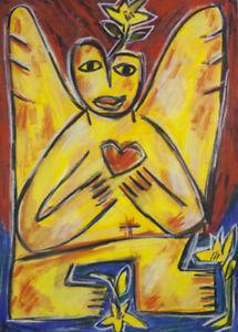 Pasquale GIARDINO  Angel with Heart  ORIGINAL DRAWING - ROAR SCHOOL MODERN ART