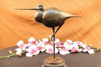 LOVELY SIGNED BIRD GENUINE PURE HOTCAST BRONZE ON MARBLE BASE FIGURINE ART DECO