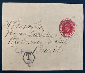 1900s England Wrapper Postal Stationery Cover  To Rio Grande Brazil