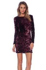 Motel Rocks Sequin Maroon Wine Burgundy plunge back mini dress S small Gabby