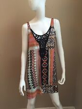 L*Space Rayon Ikat Print Tank Style A-Line Mini Dress Crochet Neckline S NWOT!
