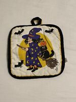 Vintage 1993 Halloween Witch Pot Holder Pumpkins Bats Jack o Lantern Black Cat