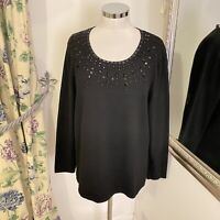East Size XL 18 black beaded wool blend think occasion jumper cosy warm party