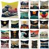 Linen Pillowslip Japanese Abstract Mountain Ocean Wave Pillow Case Cushion Cover