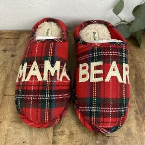 Dearfoams Mama Bear Red Black Buffalo Plaid Women's Clog Slippers Size Med 7/8