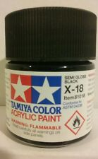 Tamiya acrylic paint X-18 Semi-gloss black.23ml.