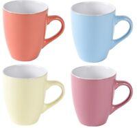 Set of 4 Stoneware Mugs Tea Coffee Bullet Mugs 340 ml Bright Pastel Colours