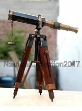 """NAUTICAL ANTIQUE BRASS 9"""" SPYGLASS TELECOPE WITH WOODEN TABLE TRIPOD STAND"""