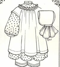 "Doll clothes SEW PATTERN fits 14-15""toddler DRESS pinafore bonnet Pantaloon 1065"