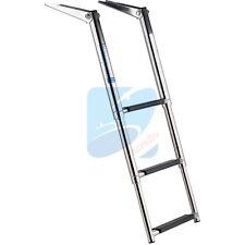 Stainless Steel 3 Step Telescopic Boat Ladder - Marine Transom Boarding Ladder
