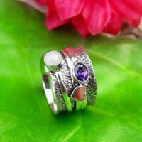 925 Sterling Silver Spinner Ring Jewelry Moonstone & Amethyst All Size DO-221