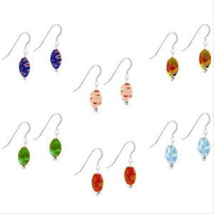 925 Silver Multi-Color Millefiori Murano Glass Oval Dangle Earrings Set