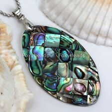 1p Abalone Of Mother Pearl Shell Marquise Bead Charm Pendant For Necklace