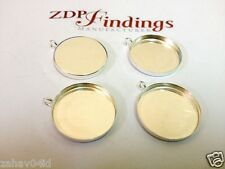 4Pcs x  18mm Round Bezel Cup Sterling Silver 925 ZDP Findings ManufacturerRD181V