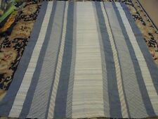 Nice Denim & Whole Cloth Striped Pieced Quilt