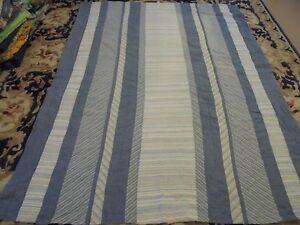 Nice Denim & Whole Cloth Striped Pieced Quilt
