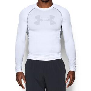 Under Armour UA HeatGear Mens Graphic White Sports Training Compression Top L