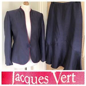 Jacques Vert Size 10 Skirt Jacket Set Grey Purple Mauve Outfit Work Office Smart