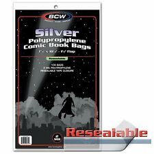 500 BCW Silver Age Comic RESEALABLE Bags / Sleeves 7 1/8 x 10 1/2 Poly Acid-Free