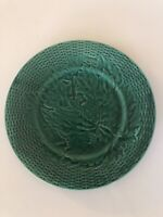 Antique Green Majolica Basketweave Plate