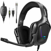 Gaming Headset Headphones with Noise Cancelling Mic Surround Sound Over-Ear RGB