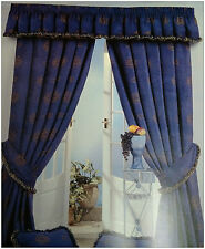 "COMO 66"" x 90"" CHENILLE NAVY BLUE HEAVY LUXURY READY MADE PENCIL PLEAT CURTAINS"